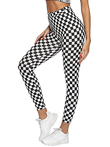 Race Girl Costume (WDIRARA Women's High Waisted Sporty Capris Skinny Plaid Yoga Leggings Black and White)