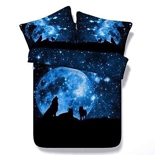 YXYLD 3D Duvet Cover Sets Double Size Wolf Galaxy Space Pattern Kids Bedding Set Ultra Soft Starry Theme Quilt Cover for Boys 200cmx230cm