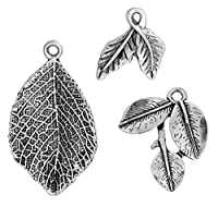 Leaf Charm Pendants 40 Pack, Jewelry Making DIY Steampunk Bulk Wholesale