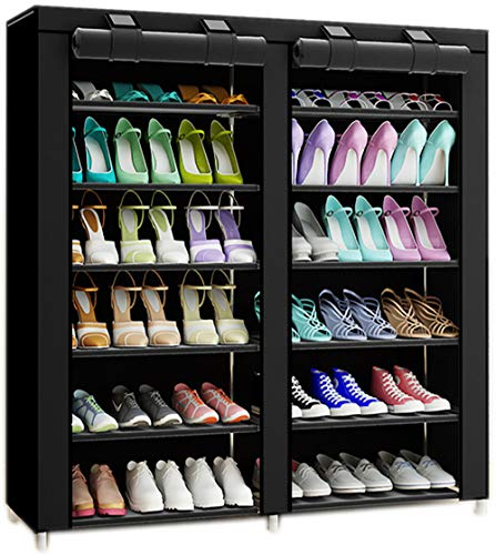 TXT&BAZ 36-Pairs Portable Shoe Rack Double Row with Nonwoven Fabric Cover (7-Tiers Black) (Shoe Cabinet Double)