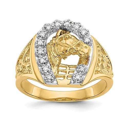 (14k Two Tone Yellow Gold Diamond Mens Band Ring Size 10.00 Man Horseshoe Fine Jewelry Gift For Dad Mens For Him)