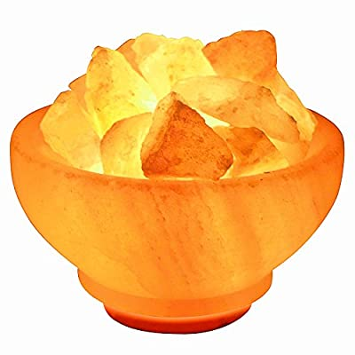 Crystal Allies Gallery CA SLSFB-S Natural Himalayan Salt Fire Bowl Lamp with Rough Salt Chunks & Dimmable Switch, 6""