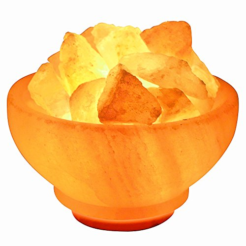 Crystal Allies Gallery CA SLSFB-S Natural Himalayan Salt Fire Bowl Lamp with Rough Salt Chunks & Dimmable Switch, 6