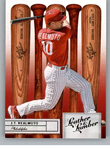 2019 Leather and Lumber Retail Baseball #55 J.T. Realmuto Philadelphia Phillies Bat Official MLBPA Trading Card From Panini