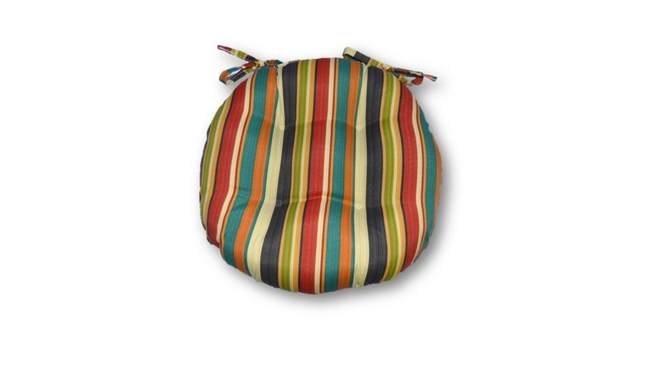 Resort Spa Home Decor Indoor/Outdoor Round Tufted Bistro Cushion with Ties - Draw the Line Fiesta~Green Red Teal- Choose Size (16'' w)
