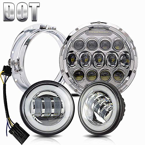 Harley Harness Motorcycle Davidson (DOT Approved 7 inch LED Headlight 4.5 inch Fog Passing Lights Ring Motorcycle Headlamp for Harley Davidson Touring Road King Heritage Softail Deluxe Fatboy Ultra Classic Electra Street Glide Tri Cvo)