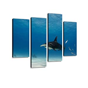 Great Hammerhead Shark Swimming Over Sand in Shallow Water Canvas Wall Art Hanging Paintings Modern Artwork Abstract Picture Prints Home Decoration Gift Unique Designed Framed 4 Panel