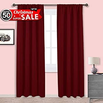 nicetown burgundy curtains blackout drapes christmas curtain xmas home decor thermal insulated solid blackout living