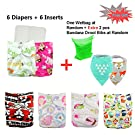 Babygoal Baby Reuseable Washable Pocket Cloth Diaper 6pcs+ 6 Inserts 6fg21