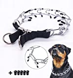 """Pettycart Dog Prong Collar, Durable Stainless Steel Dog Pinch Training Collars for Medium Large Large Dogs (L-21.6"""", Black)"""