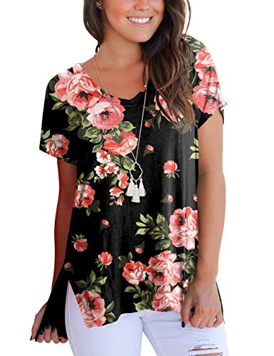 Women's Shirts Loose Fit V Neck Tees Flower Printed Tops High Low Tshirt with Side Split