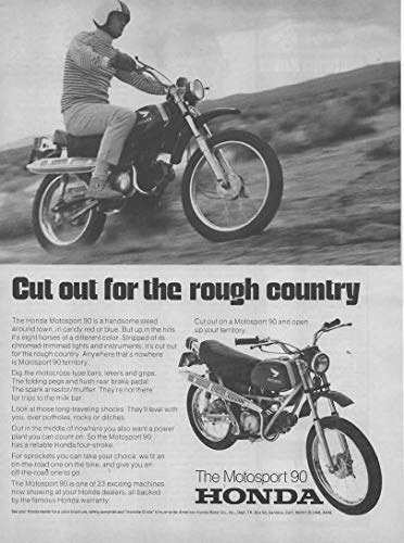 "Magazine Print Ad: 1969 Honda Motorsport 90 Motorcycle Motorbike,""Cut Out for the Rough Country"""