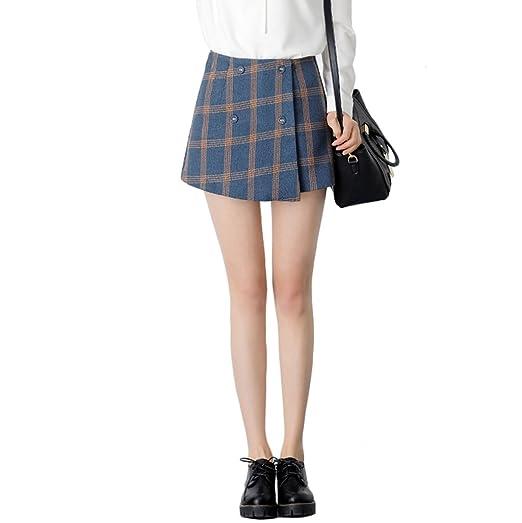 TSINYG Elegante falda escocesa de cintura alta para mujer con ...