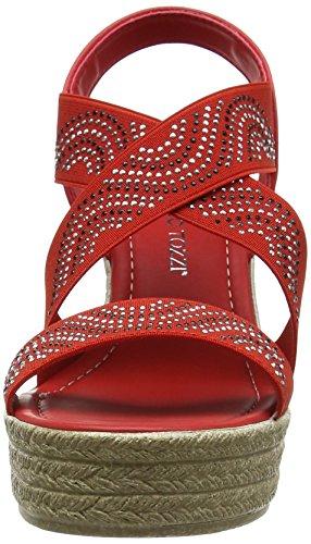 Marco Tozzi 28363, Sandalias con Cuña Para Mujer Rojo (Chili Comb 543)