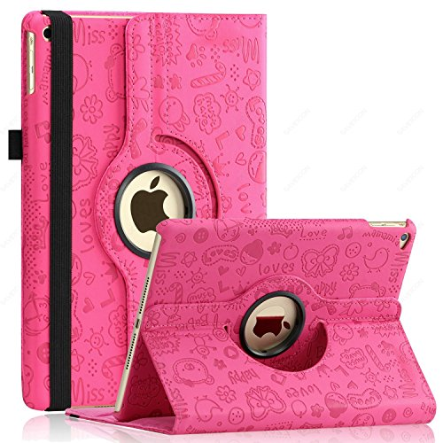 iPad Air Case (Released 2013), SAWE - PU Leather Case with 360 Degrees Rotating Swivel Stand Folio Case Smart Cover for New Apple iPad Air 1 (iPad 5) Gen with Sleep / Wake Up Feature WiFi & 4G LTE (Hot Pink Cute)