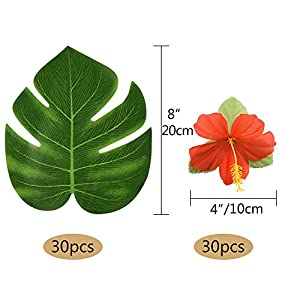 """Kuuqa 60 Pcs Tropical Party Decoration Supplies 8"""" Tropical Palm Monstera Leaves and Hibiscus Flowers, Simulation Leaf for Hawaiian Luau Party Jungle Beach Theme Table Decorations 2"""