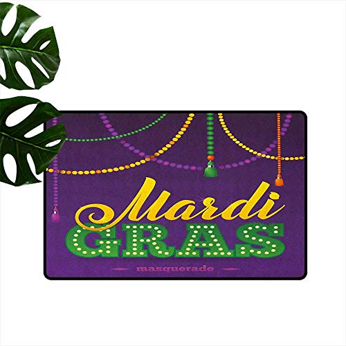 (Anzhutwelve Mardi Gras,Entrance Door Mat Beads and Tassels Masquerade Theme Calligraphy Design Fun Print 16