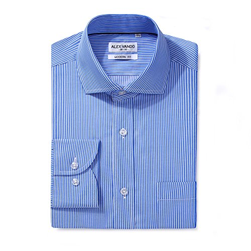 Shirt Stripe Dress (Alex Vando Men's Regular Fit Long Sleeve Dress Shirts,Blue Stripe,16.5 34/35)