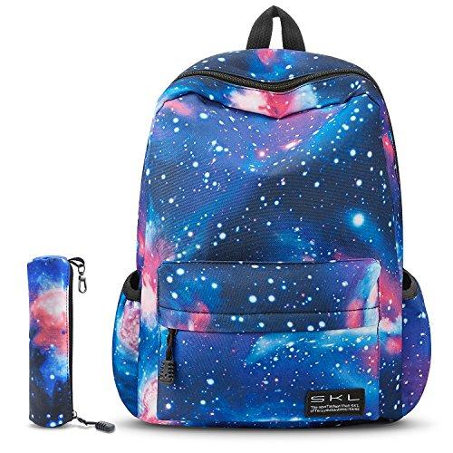 School Bag for Boys Girls, SKL Galaxy Blue Stylish Unisex Canvas Book Bag School Backpacks for Girls Boys with Pen Bag