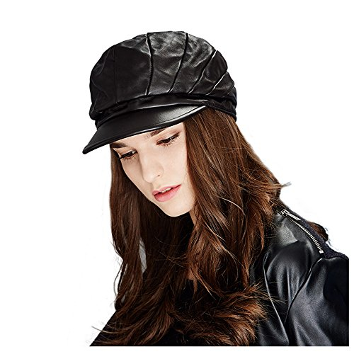 Kenmont Lady's Genuine Lambskin Leather Cap Beret Hat
