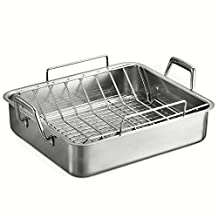 Tramontina 80203/006DS Gourmet Prima 16.5-Inch Deep Rectangular Roasting Pan with Basting Grill and V-Rack, Large, Stainless Steel by Tramontina