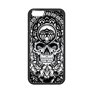 Hoomin Cool Black And White Mandala Skull Art iPhone 5C Cell Phone Cases Cover Popular Gifts(Laster Technology)