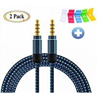 Nylon Braided 4-Pole Male to Male Stereo Shielded Cord(5ft/1.5m) DFrhythm 3.5mm Universal Aux Cord Auxiliary/Aux Cable for Car Smartphone Tablets Headset PC Laptop Speaker MP3 Players (2 Pack blue)