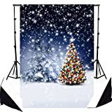 DODOING 5x7FT Photography Background Winter Snow Star Christmas Trees Balls Decorating Photo Backdrop Photography Background Studio Props 1.5x2.1m
