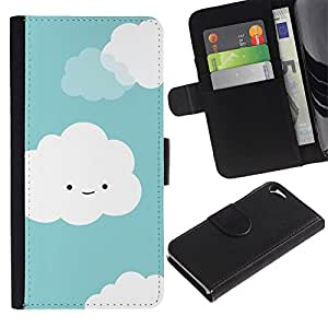 Be Good Phone Accessory // Caso del tirón Billetera de Cuero Titular de la tarjeta Carcasa Funda de Protección para Apple Iphone 5 / 5S // clouds white cute smiley face drawing