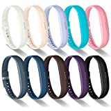GreenInsync Bands for Fitbit Flex 2, Replacement for Fitbit Flex 2 Silicone Sport Wristbands Strap Small with Metal Clasps and Fasteners for Fitbit Flex 2 Fitness Smart Watch Women Girls 10Pack