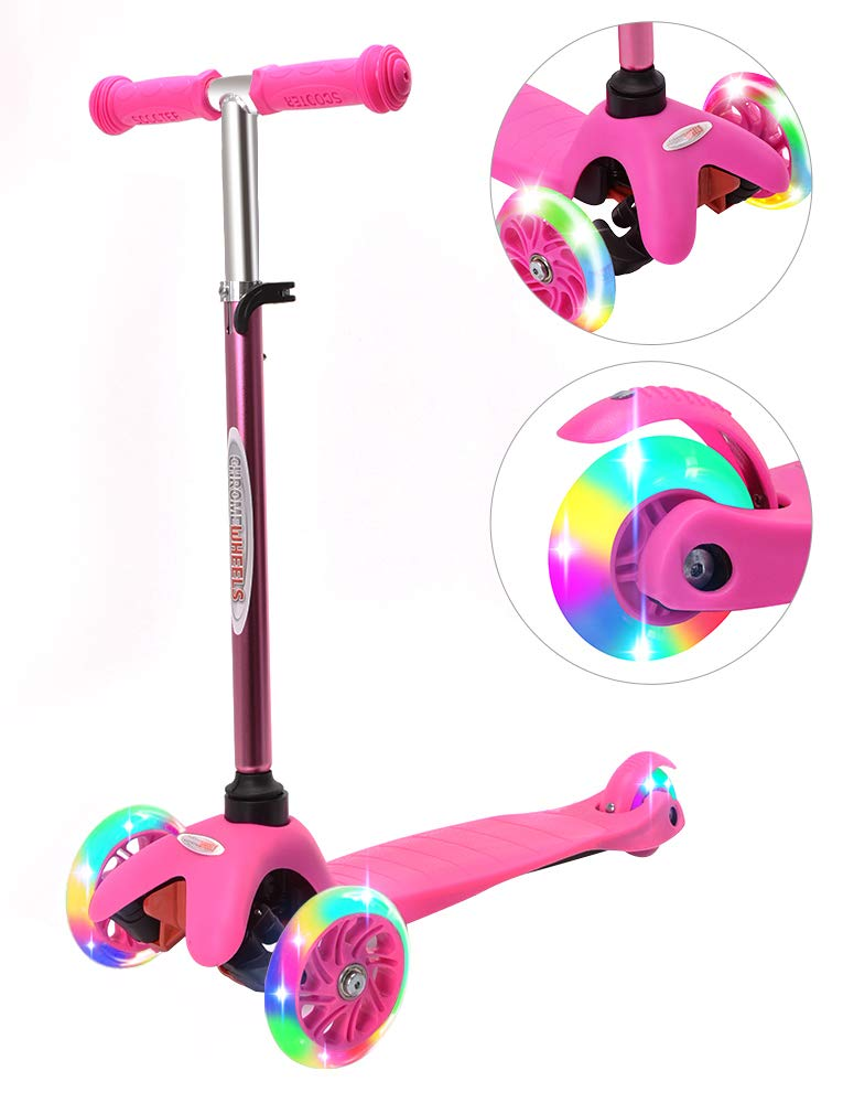 ChromeWheels Scooter for Kids, Deluxe 4 Adjustable Height 3 Wheels Glider with Kick Scooters, Lean to Steer with LED Flashing Light for Kids 3-6 Years Old Girls Boys Toddlers, Pink by ChromeWheels