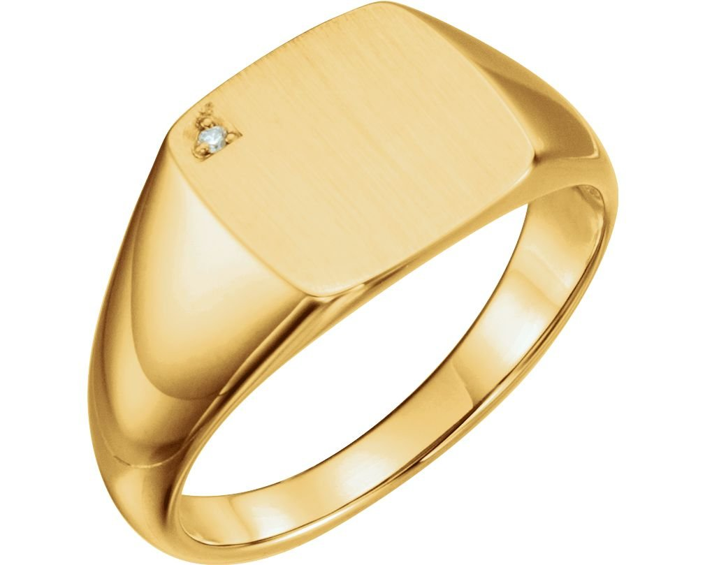 Men's Diamond Signet Ring, 14k Yellow Gold (.0075 Ct, G-H Color, I1 Clarity) Size 9.5