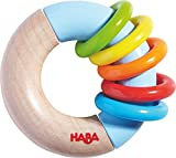 HABA Ring Around Wooden Clutching Toy, Small Rattle and Teether with Five Moving Rings (Made in Germany)