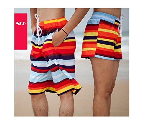 DESIGN FREUNDE Swimwear Shorts Bermuda Herrenshorts Herrenbermuda Sporthose Herren Badeshorts Sportshorts Herren Badeshorts Rainbow Skills von DF Size M L