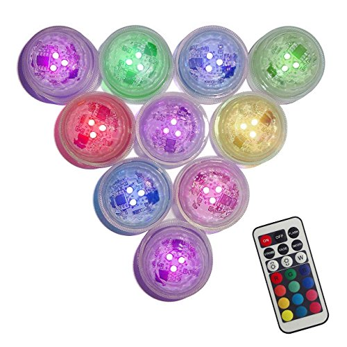 Creatrek Flameless LED Floral Tea Lights Candles Submersible LED Lights Remote Control Multi Color Changing Option for Party Wedding Disco Home Decorations(Pack of 10)
