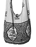 "Lovely Creations's Hippie Boho New Elephant Crossbody Bohemian Gypsy Sling Shoulder Bag ""Medium"" Size (A Gray)"