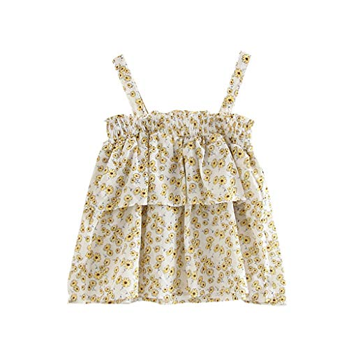 Toddler Girl Dresses,Crytech Summer Floral Ruffle Sleeveless Spaghetti Strap Princess Party Casual Holiday One Piece Skirt Beach Sundress for Baby Girl Photoshoot Clothes (2-3 Years, White)
