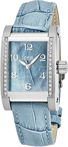 Oris Miles Rectangular Light Blue Mother-of-Pearl Face Diamonds Womens Swiss Automatic Light Blue Leather Strap Watch 56175364955LS
