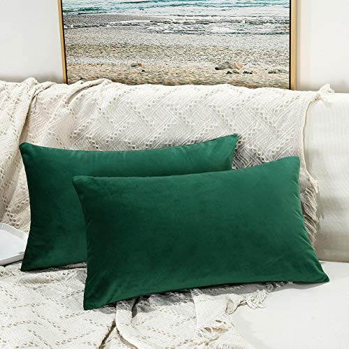 JUSPURBET Velvet Pillow Covers 12x20 Inches,Pack of 2 Decorative Throw Pillow Covers for Sofa Couch Bed, Super Soft Throw Pillows Cases,Dark Green (Lumbar Pillow Green)