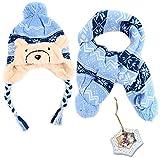 Girls Teddy Bear Knit Winter Outerwear Gift Set - Scarf, Hat & Porcelain Tree Ornament