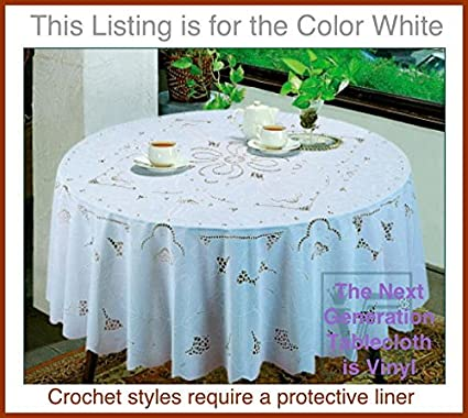 Awesome Early American Design PVC CROCHET Vinyl Tablecloth, Elegant, Easy To Care  For