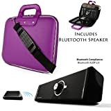 Purple CADY Leather Hard Shell Cube Carrying Shoulder Bag For Amazon Kindle Fire HD HDX 8.9 inch Tablet + A Top Of The Line HD Bluetooth Speaker with Incredible Bass Mid High Sounds, Crystal Clear Bea