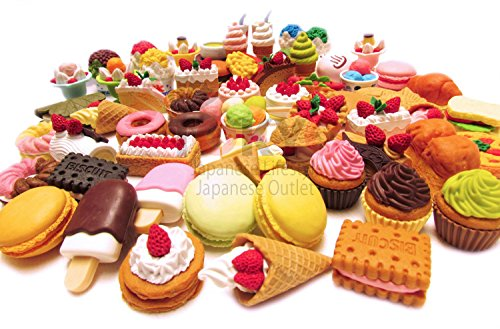 30 of Assorted FOOD CAKE DESSERT Japanese Erasers IWAKO (selected by Tokyo Japanese - Dessert Outlet