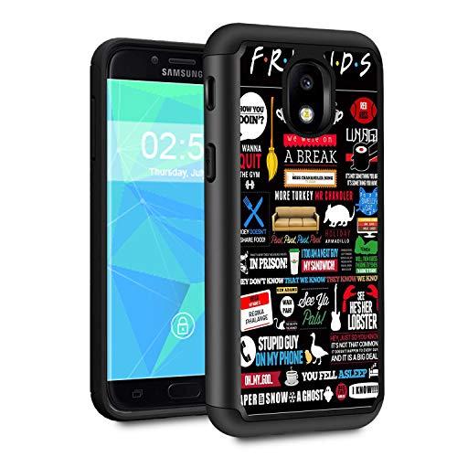 (Galaxy J7 2018 case,J7 Aero/J7 Star/J7 Top/J7 Aura/J7 Crown/J7 Refine Case,Spsun Dual Layer Hybrid Hard Protector Cover Anti-Drop TPU Bumper for Samsung Galaxy J7 2018,Quote Cute Friends)