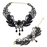 DVANIS Black Leaf Flower Crystal Chain Lace Collar Necklace Bracelet Jewelry Set Women