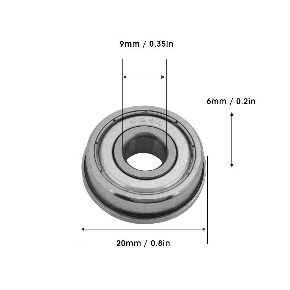 10pcs 699ZZ Rodamientos universales de bolas de acero en miniatura con doble blindaje 9x20x6mm