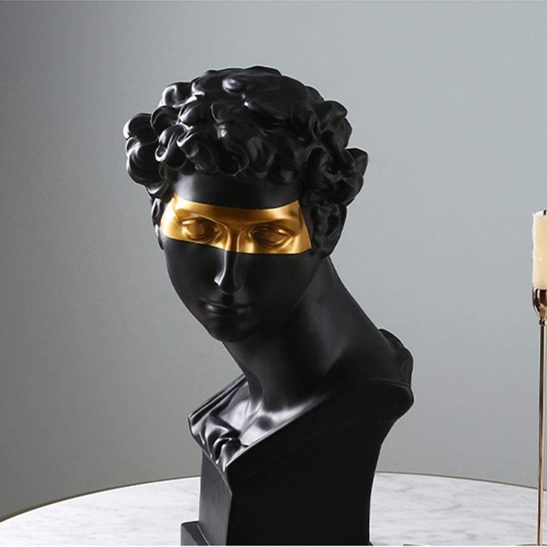 GEPIJPGEKH Resin Character Statues for Home Office Decor David Head Sculpture Greek Figurine Nordic Style Ornament (Black)