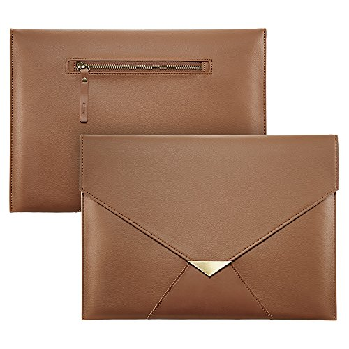 MacBook-12-inches-Sleeve-Case-iPad-Pro-105-Sleeve-ESR-PU-Leather-Cushion-Protective-Sleeve-Bag-Cover-Case-Envelope-with-Pencil-Holder-for-Apple-MacBook-12-iPad-Pro-105-Surface-Pro34-Brown