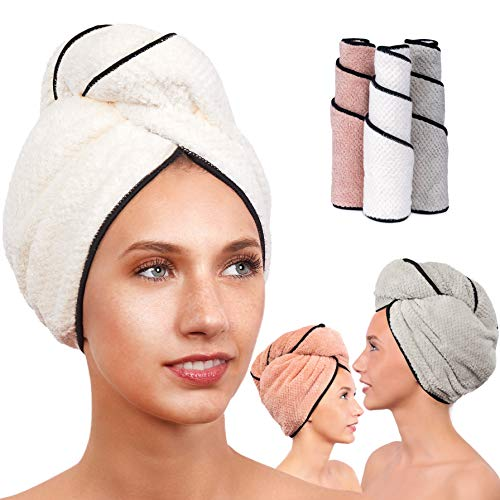 Microfiber Hair Towel for Women - Drying Twist Wrap for Curly, Long, Thin or Short Hair - Ultra Absorbent & Anti Frizz Turban for Sleeping and Showering - Great GiFT (Ivory/Pink/Grey)