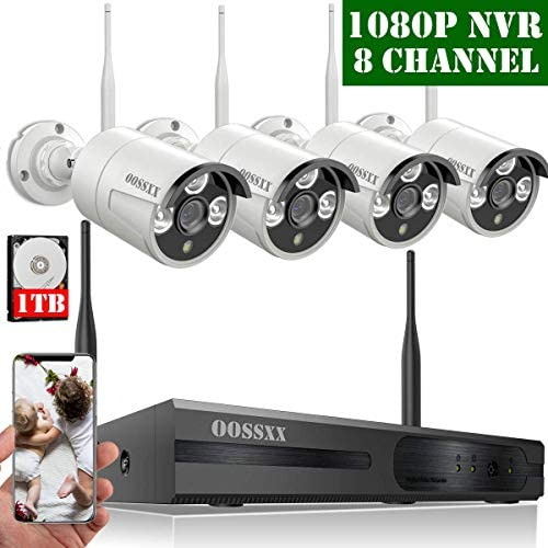 2020 Update HD 1080P 8-Channel OOSSXX Wireless Security Camera System,4Pcs 720P 1.0 Megapixel Wireless Indoor Outdoor IR Bullet IP Cameras,P2P,App, HDMI Cord 1TB HDD Pre-Install